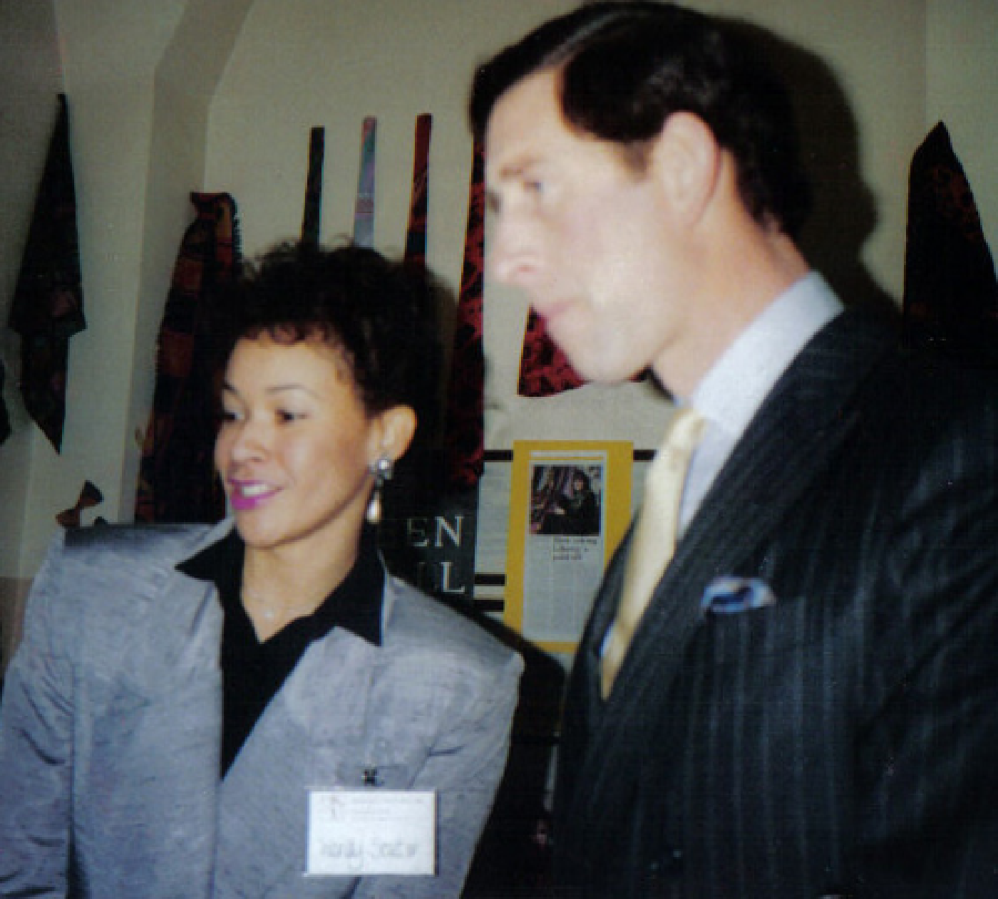 Wendy Souter with HRH Prince Charles at opening of OTC in 1988